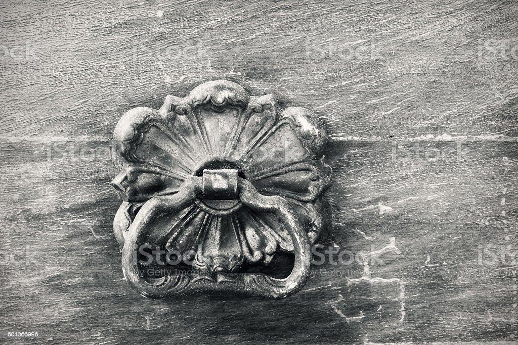 Knob on Vintage Dresser Drawer stock photo