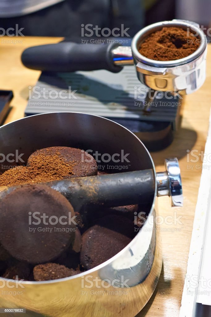 Knock box and holder barista on table stock photo