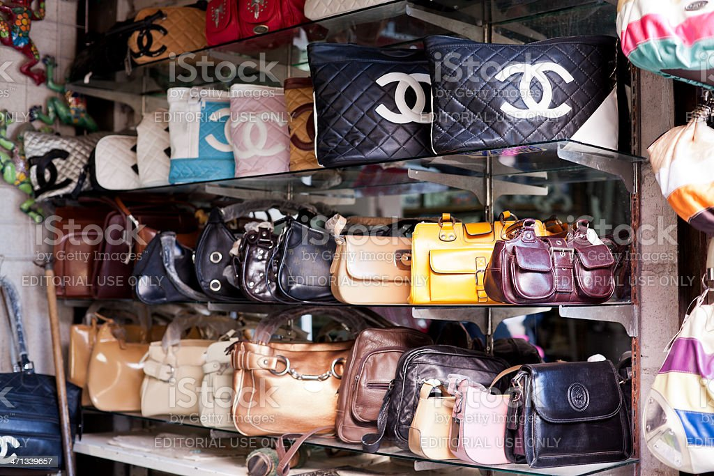 Knock off purses for sale in Rocky Point, Mexico. stock photo