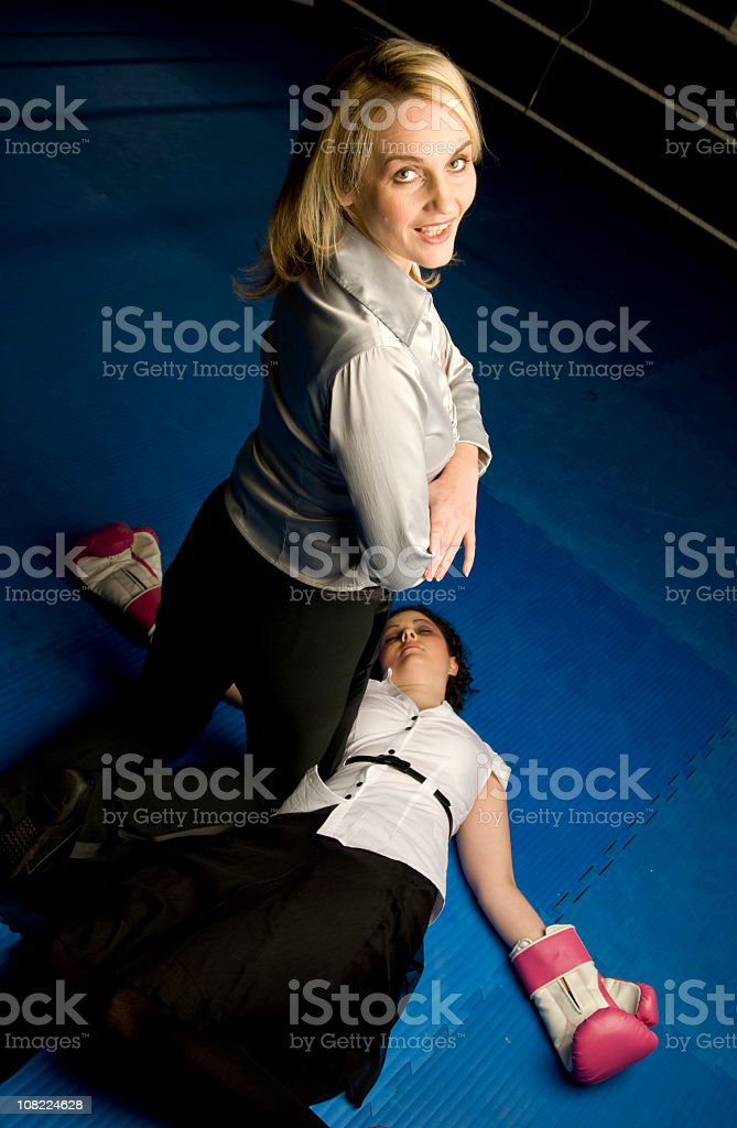 Knocked Out at Boxing match royalty-free stock photo