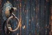 knocker on old wooden door