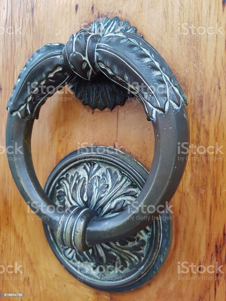 Knocker on the door stock photo