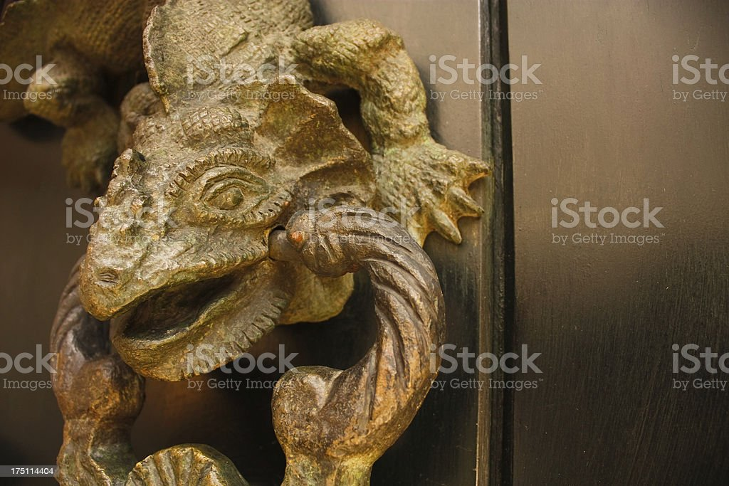 Knocker shaped dragon, detail. Colombia. royalty-free stock photo