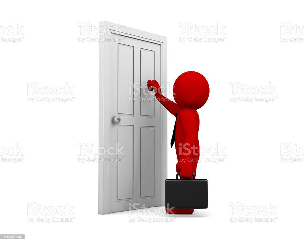 knocking at a door stock photo