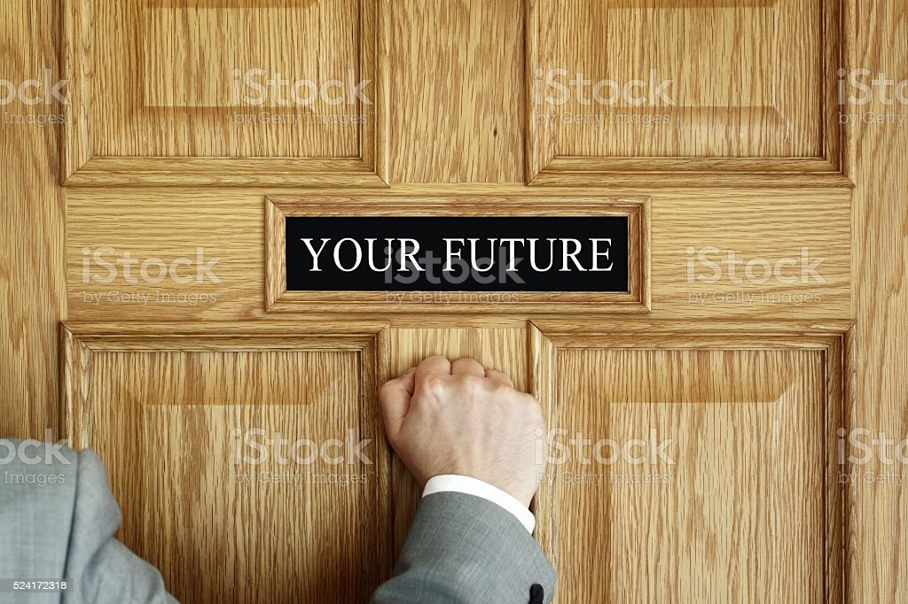 knocking on the door to your future stock photo
