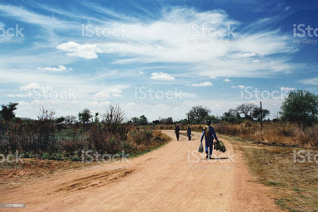 Knocking-off Time for Miners, Zimbabwe stock photo