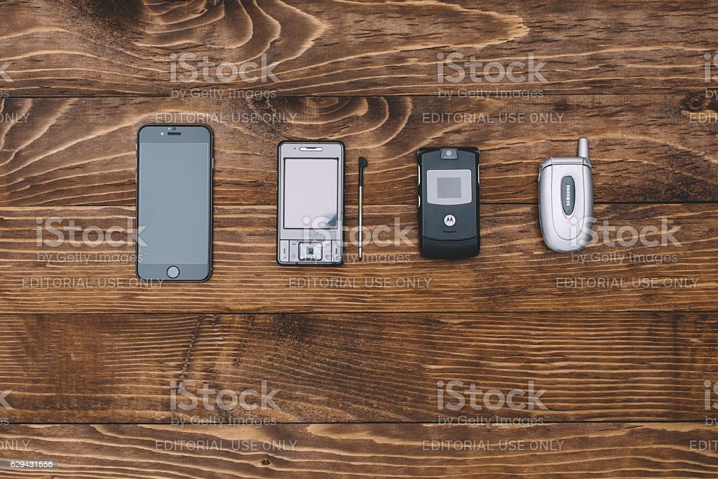 Knolling concept of telephones stock photo