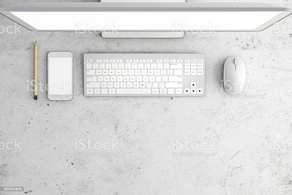 Knolling of an office desk stock photo