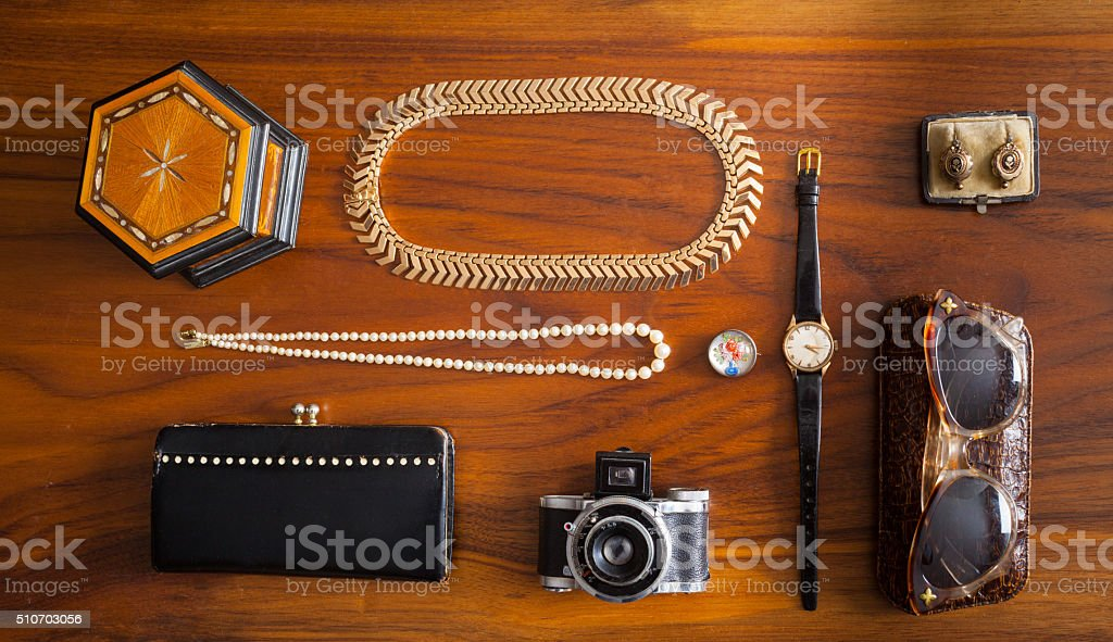 Knolling of vintage female accessories stock photo