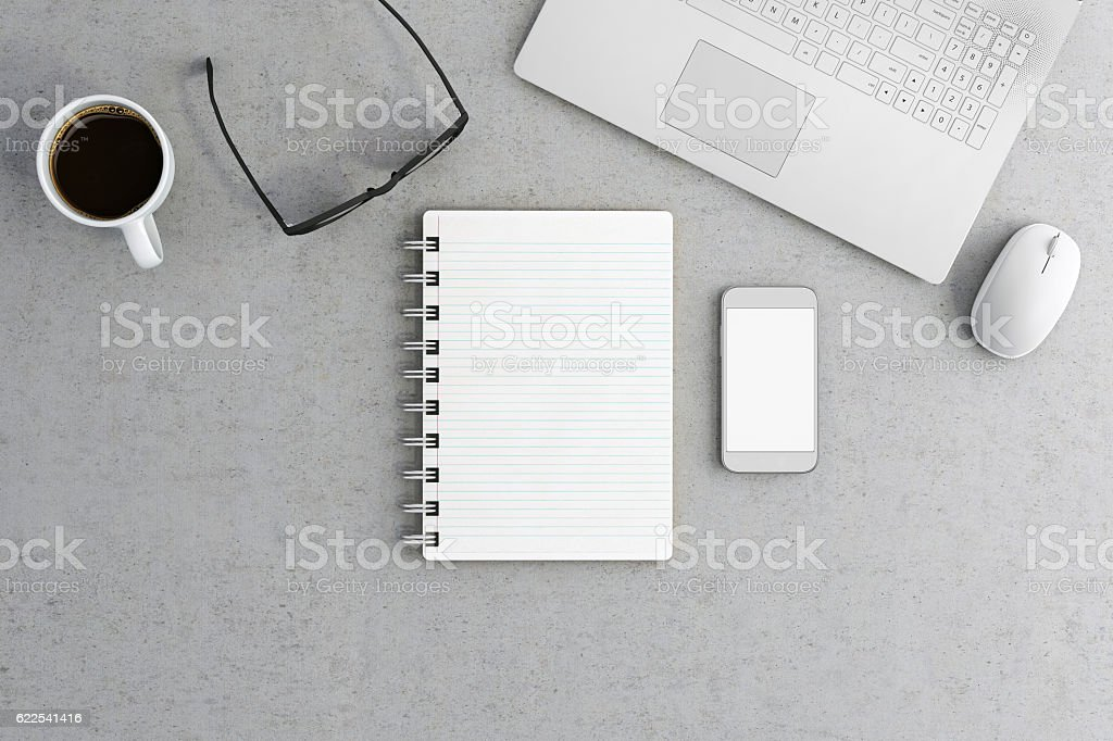 Knolling office desk stock photo