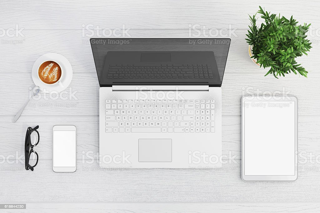 Knolling top view of a laptop stock photo