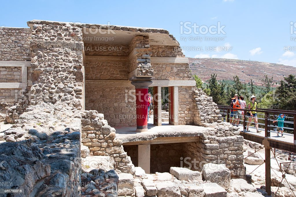 Knossos palace on the island of Crete in Greece. stock photo