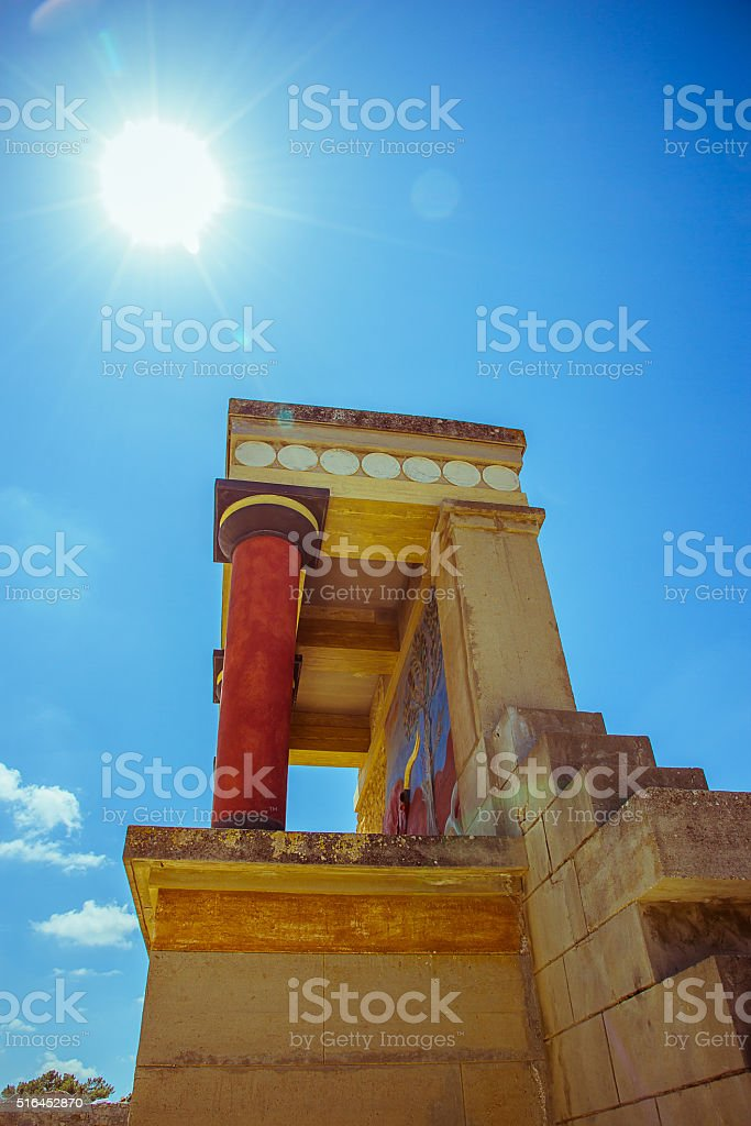 Knossos Palace ruin in sunny day, Greece, Crete stock photo