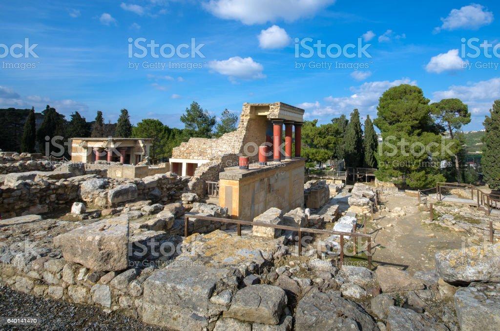 Knossos palace ruins at Crete, Greece stock photo