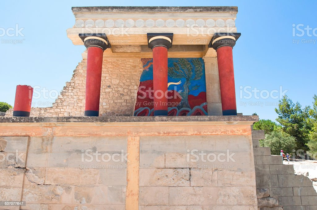 Knossos palace with charging bull on the Crete island, Greece. stock photo
