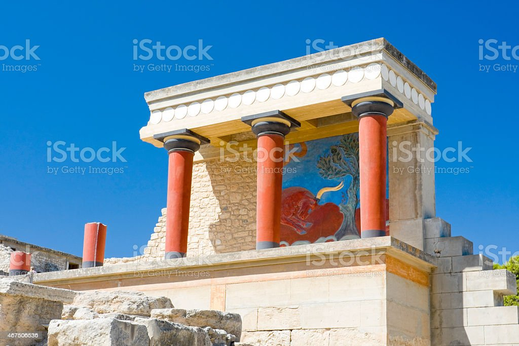 Knossos temple in Greece with art stock photo