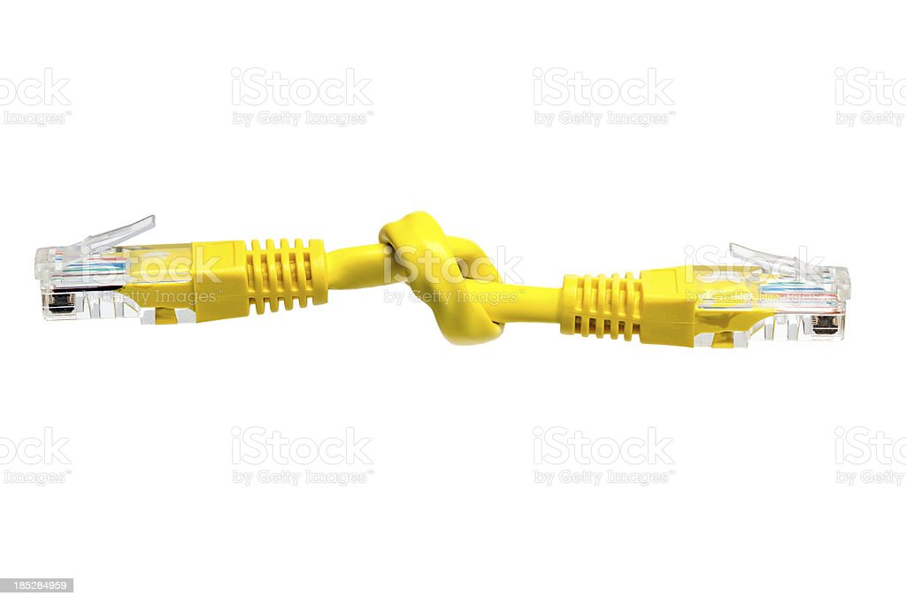 Knot in a patch cable, isolated. Broken network. stock photo
