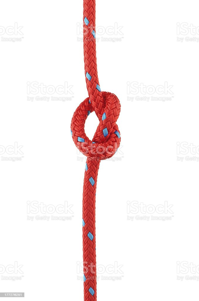 Knot in Red Rope stock photo
