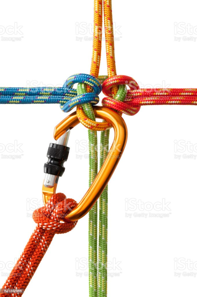 Knot with carabiner stock photo