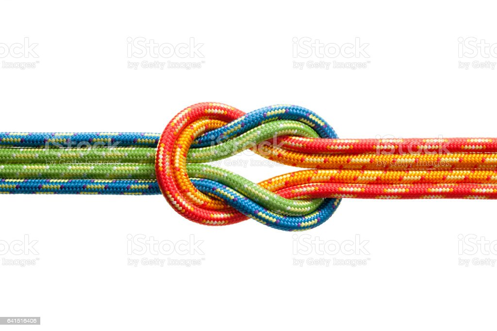 Knot with four ropes stock photo