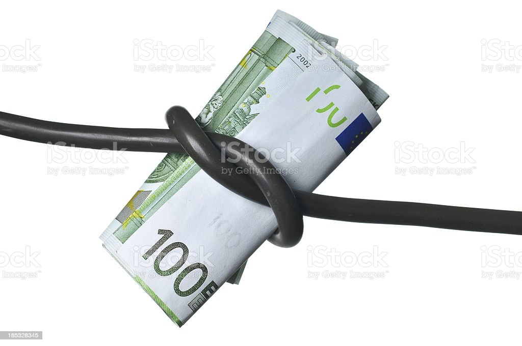 Knoted Power-Cable with Money royalty-free stock photo