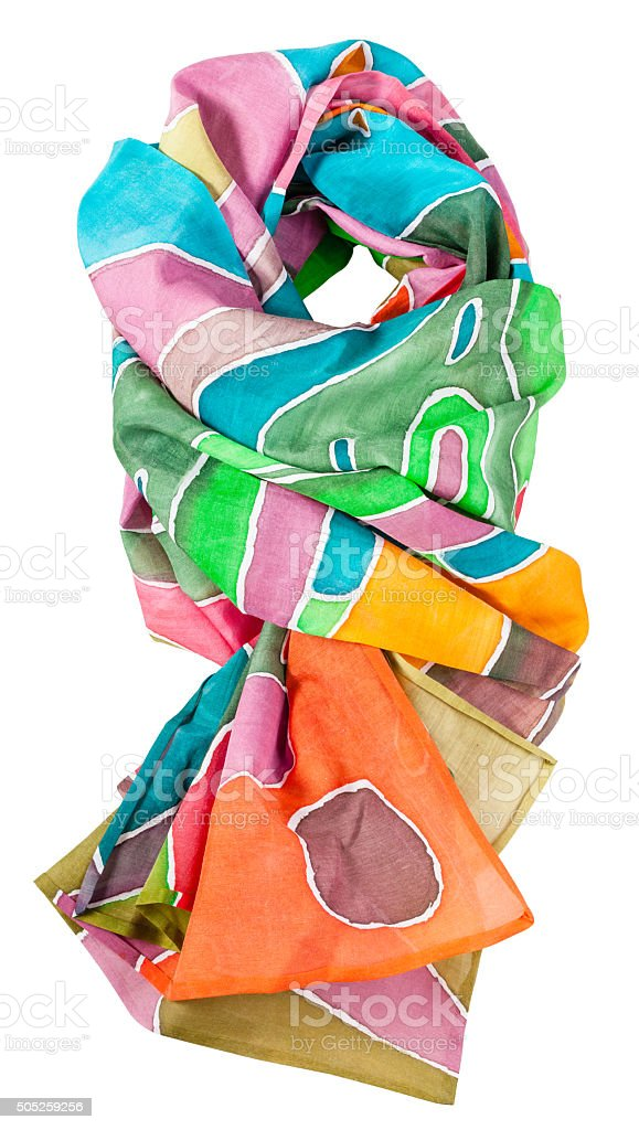 knotted batik silk scarf with geometric pattern stock photo