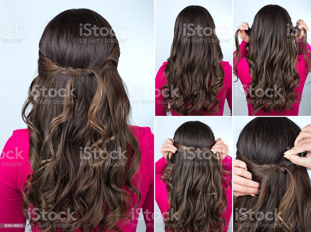 knotted hairstyle on curly hair tutorial stock photo
