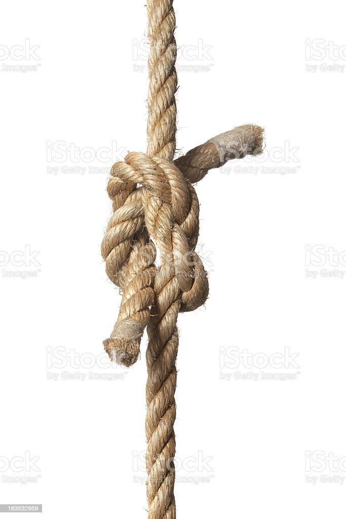 Knotted rope on a white background stock photo