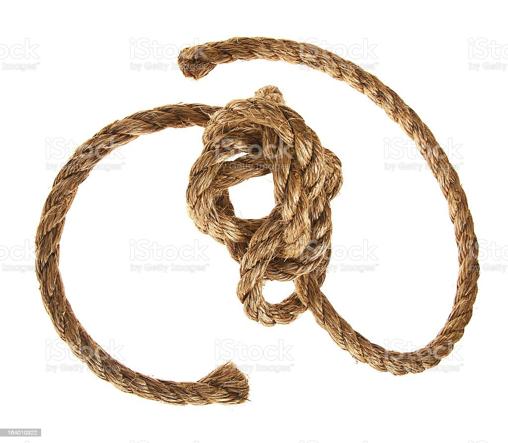 Knotted Rope on White royalty-free stock photo