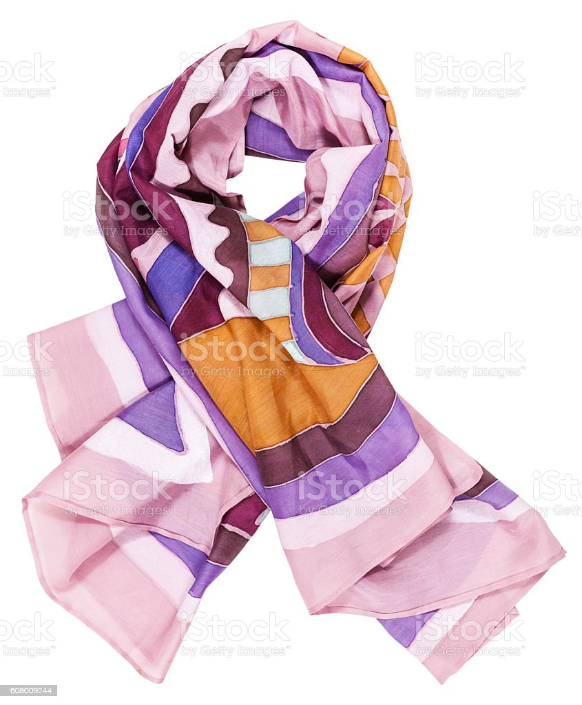 knotted scarf from pink painted silk batik stock photo