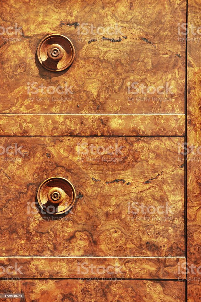 Knotted Wood Burled Dresser Furniture royalty-free stock photo
