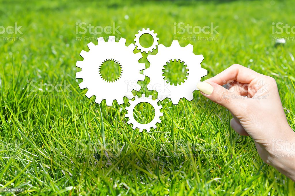 Know how concept with wheels and gears on green grass stock photo