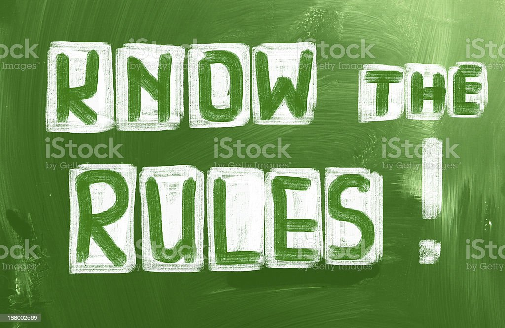 Know The Rules Concept stock photo