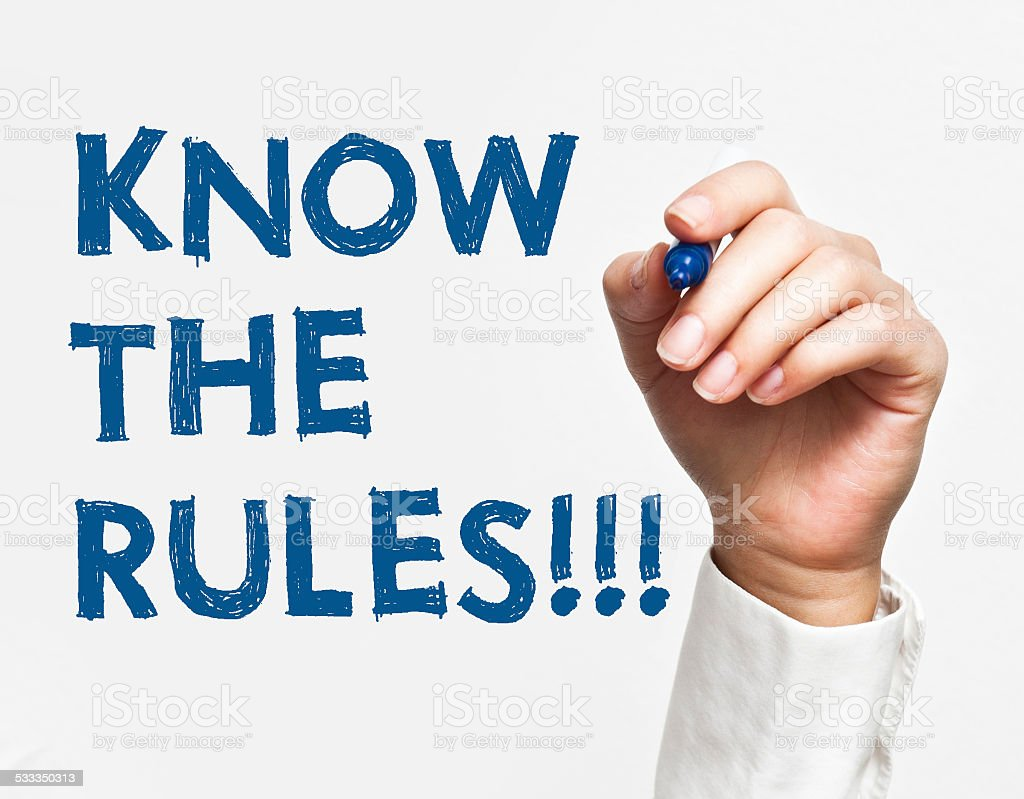 Know the rules (Click for more) stock photo