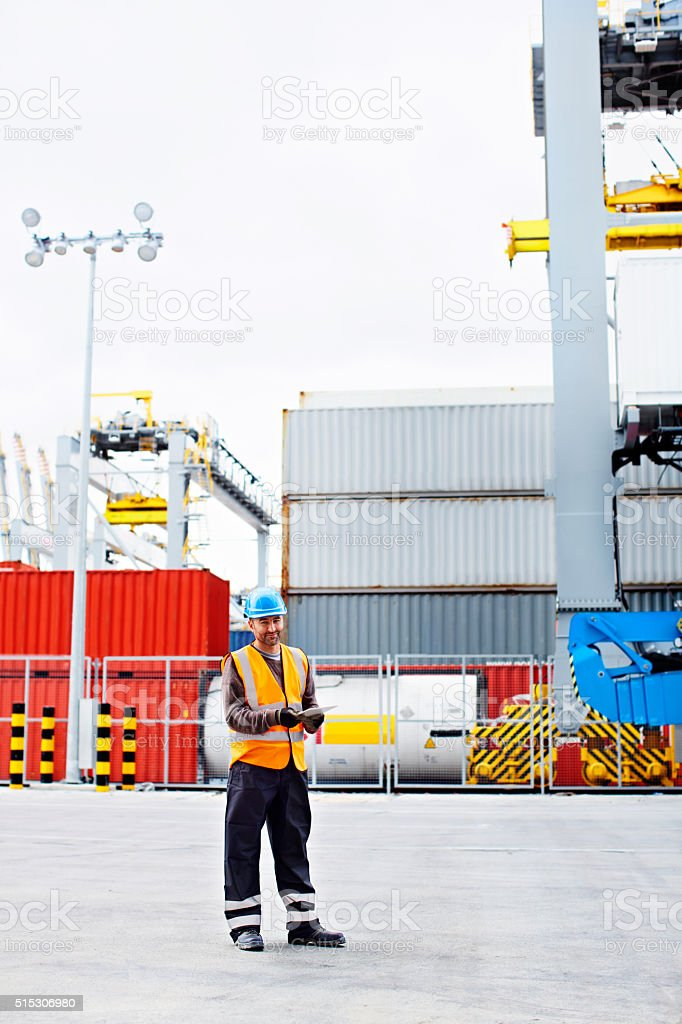 I know where every container is on this dock stock photo