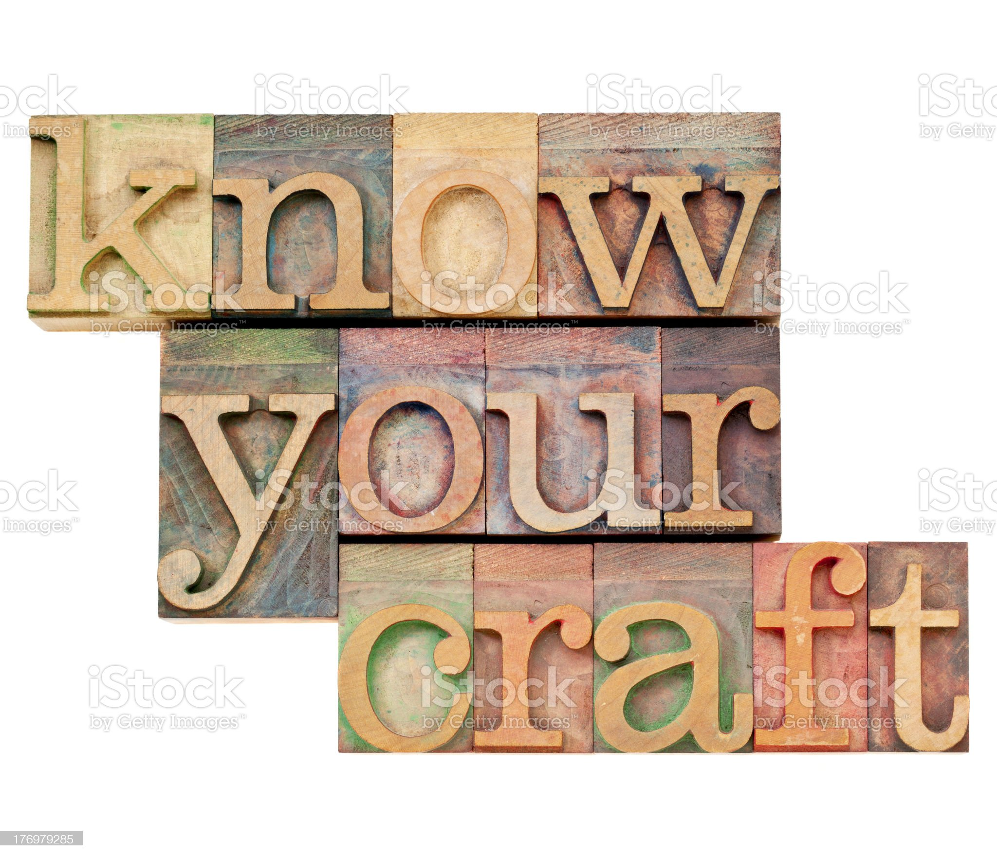 know your craft in letterpress type royalty-free stock photo