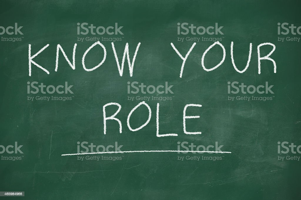 Know your role handwritten on blackboard stock photo