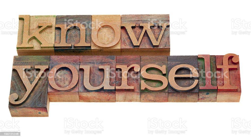 know yourself - lettepress type stock photo