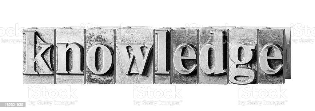 Knowldege written in metal printing press letters royalty-free stock photo
