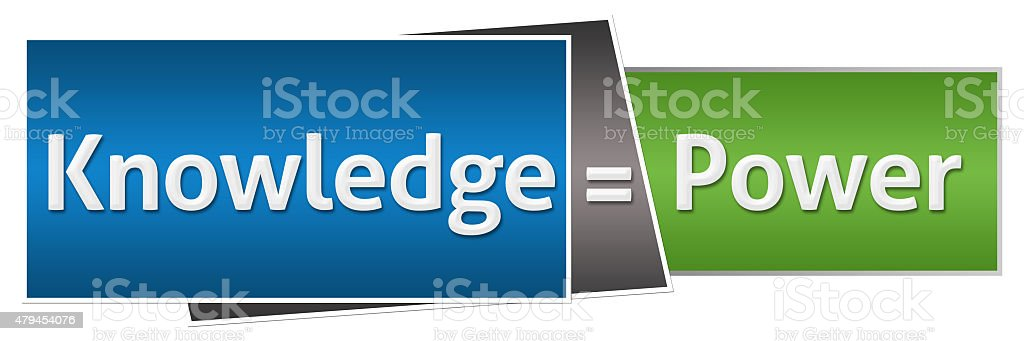 Knowledge Is Power Green Blue Horizontal stock photo