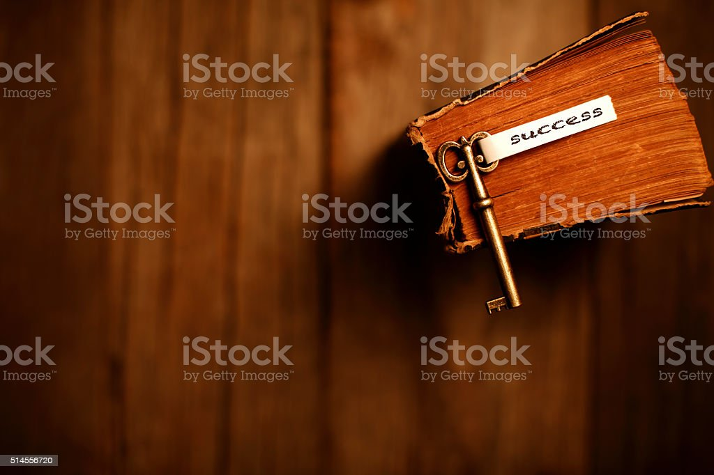 Knowledge is the key to success stock photo