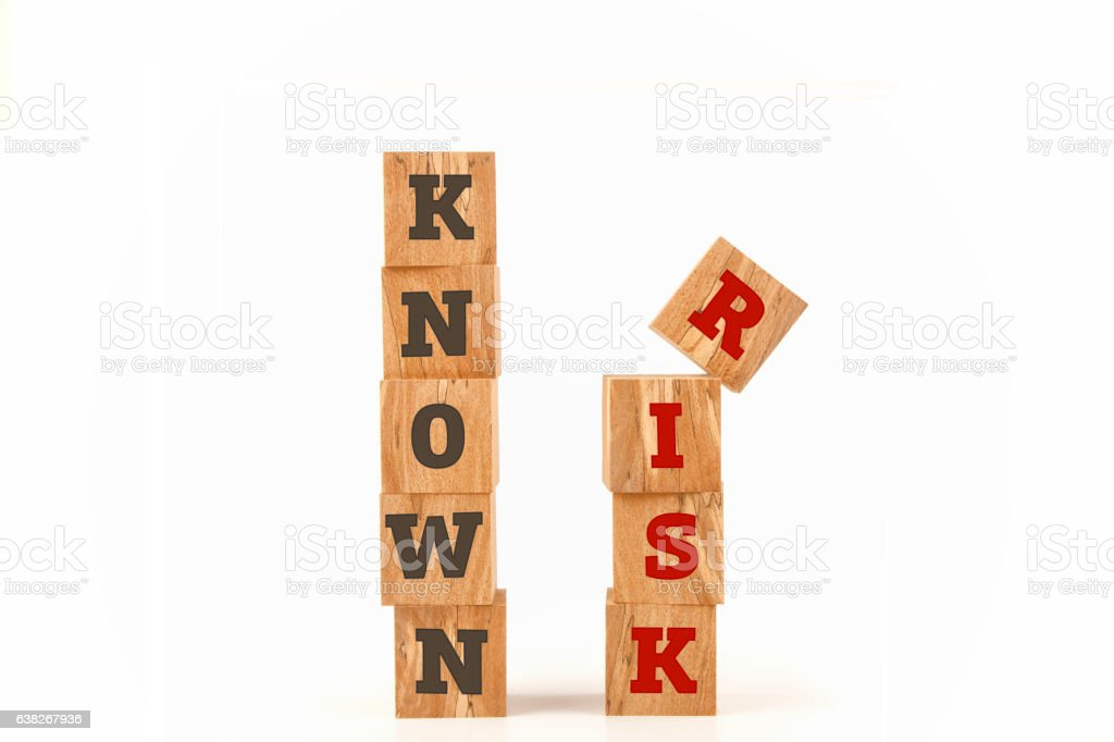 Known Risk word written on cube shape stock photo