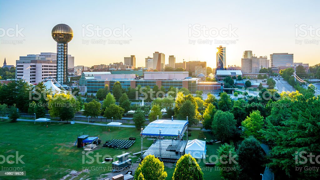 Knoxville city park event and sunrise stock photo