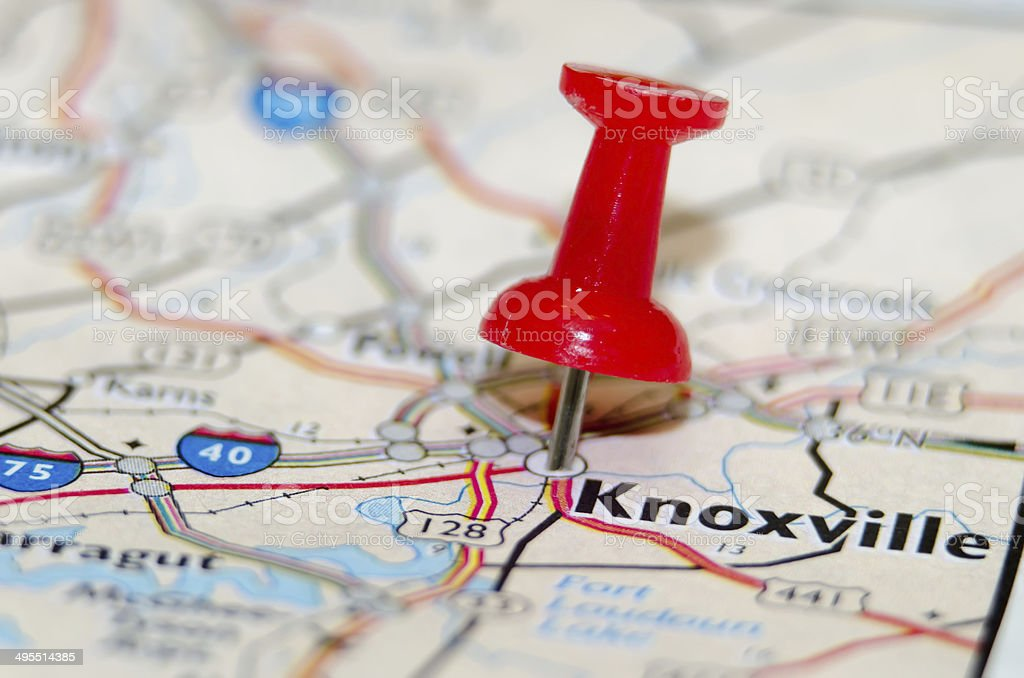 knoxville city pin on the map stock photo