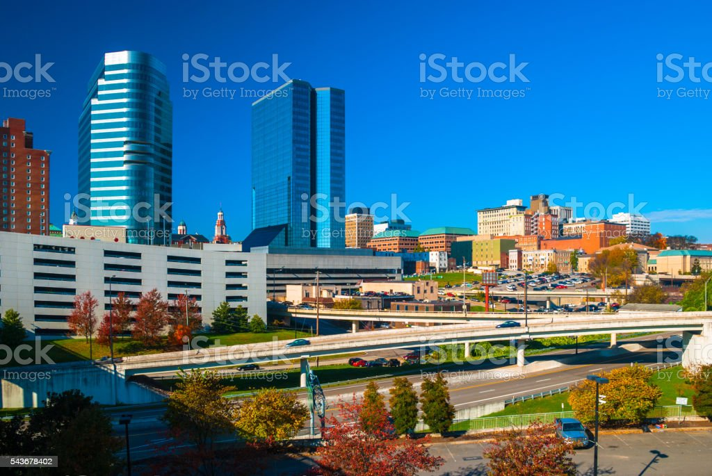 Knoxville Skyline and Highway stock photo