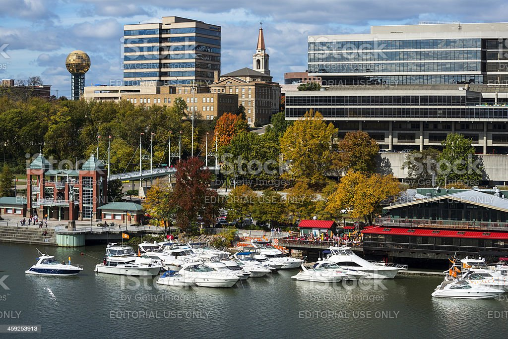 Knoxville skyline and Tennessee River stock photo