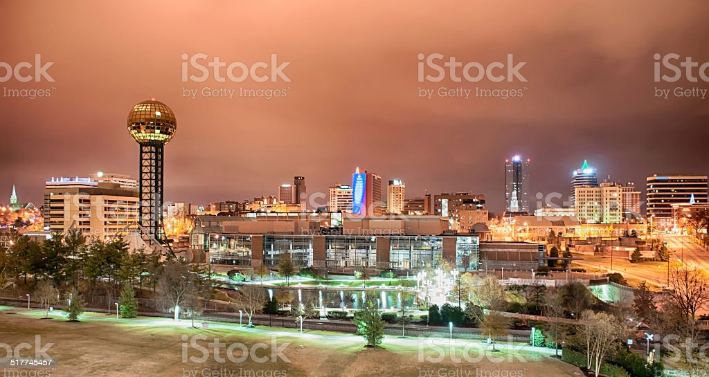 Knoxville Tennessee at night stock photo