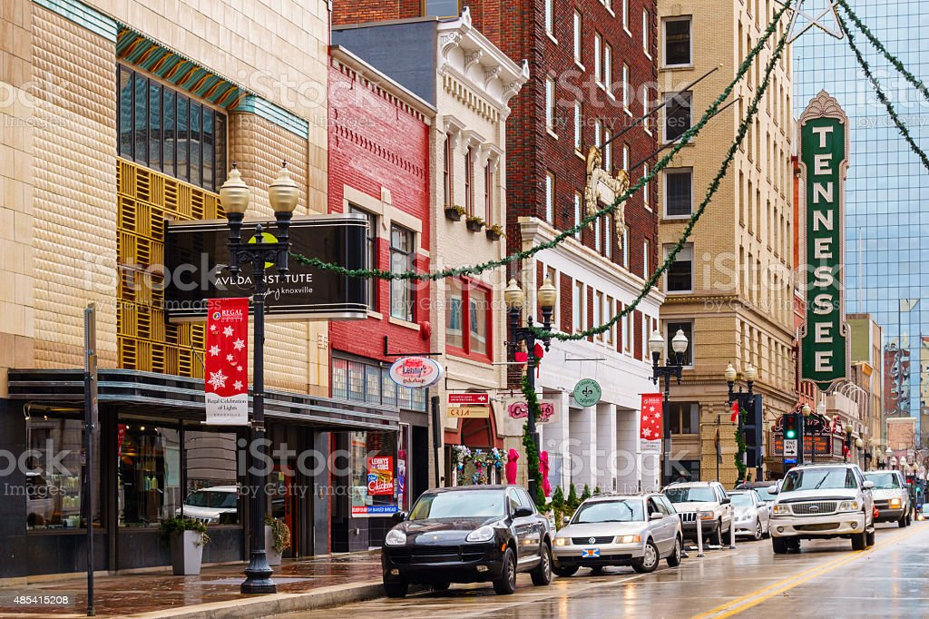 Knoxville Tennessee Downtown Facades and Businesses Gay Street stock photo