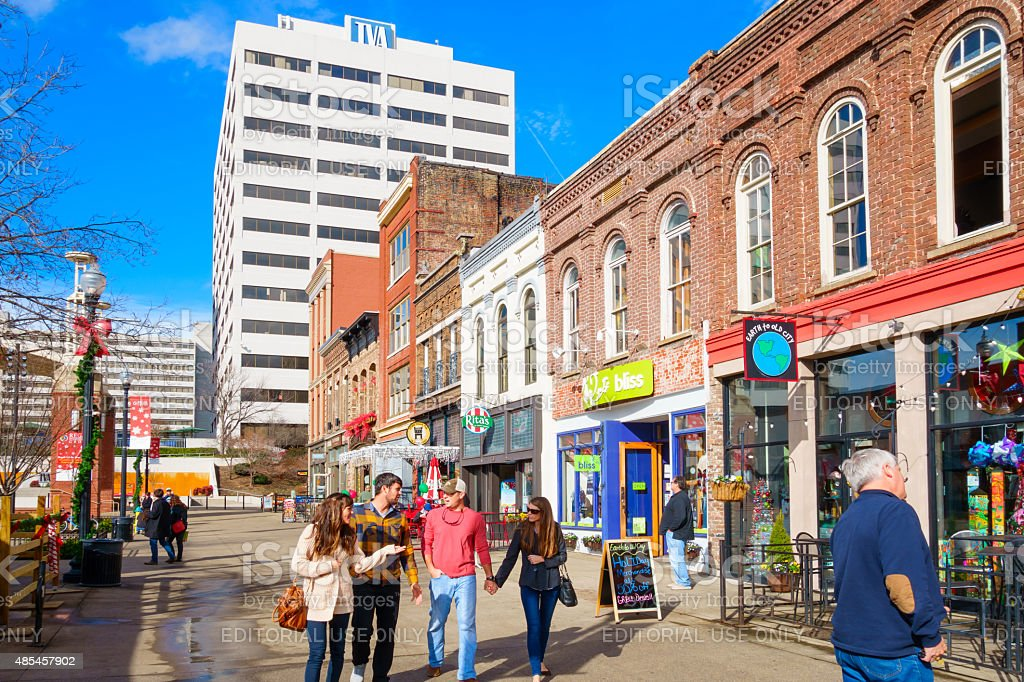 Knoxville Tennessee Downtown People Walk at Market Square stock photo