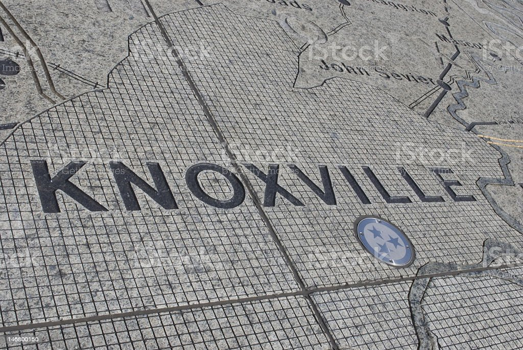 Knoxville, TN on the map stock photo